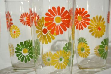 Daisy Pattern Iced Tea Glasses, set of 8