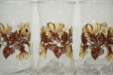 Brown and Beige Floral Pattern Water Glasses, set of 4