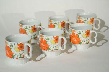 Daisy Pattern Coffee Mugs, set of 6