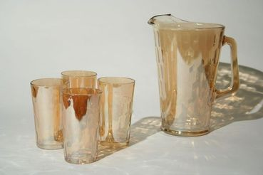 Amber Carnival Glass Honeycomb Beverage Set, Pitcher with 4 glasses