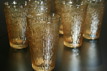 Amber Carnival Glass Tumblers with Vertical Rib Texture, set of 6