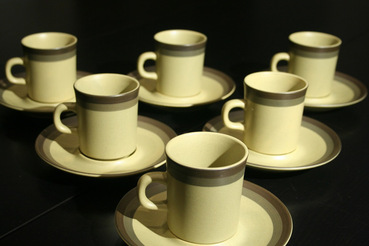 Arrow Stone Green Coffee Cups and Saucers, set of 6