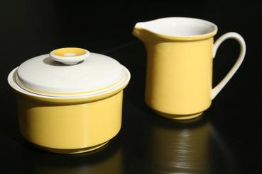 Mikasa EpiQure-One Yellow Sugar Bowl and Creamer