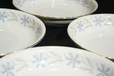 Selzmann Weiden Dishes with Blue Floral Pattern, Set of 4