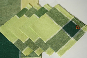 Green Plaid Picnic Tablecloth with Matching Napkins, Made in Belgium