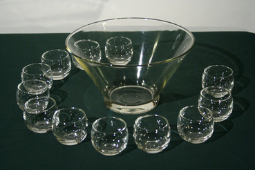 Glass Punch Bowl with 12 Roly-Poly Glasses