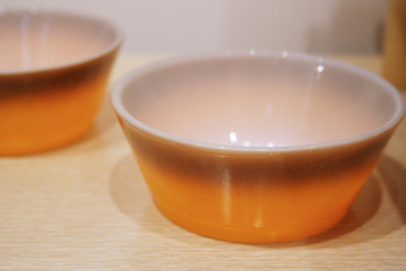 Orange and Brown Fire-King Snack Bowls, set of 2