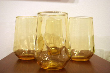 Amber Juice Glasses with Thumbprint Pattern, Set of 4