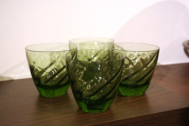 Green Swirl Pattern Old Fashioned Glasses, set of 4