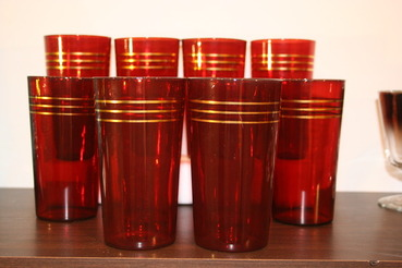 Ruby Red Highball Glasses, set of 10