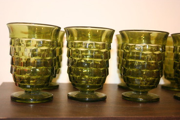 Fostoria Green Glasses, set of 8