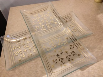 Glass Tidbit Trays with Gold Ginko Leaf Pattern, set of 2