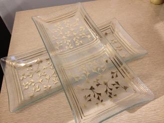 Glass Tidbit Trays with Gold Ginko Leaf Pattern, set of 2