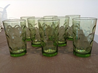 """Green """"Coin Glass"""" Juice Glasses, set of 8"""