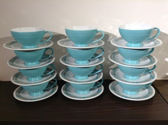 Turquoise Texas Ware Plastic Cups and Saucers, Set of 12 with Sugar Bowl