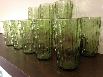 Moss green glasses with vertical ribs, set of 8