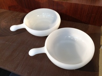 Milk Glass French Onion Soup Bowls, set of 2