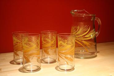 Orange and Yellow Wheat Pattern Pitcher with 4 Matching Glasses Set