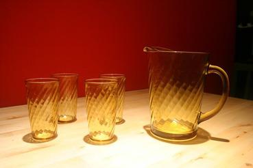 Amber Glass Swirl Pattern Pitcher with 4 Matching Glasses