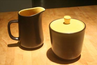 Mikasa Terra Stone Saffron Sugar Bowl and Creamer Set
