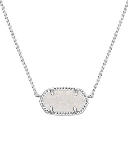 Kendra Scott ~ Elisa Silver Pendant Necklace In Iridescent Drusy
