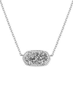 Kendra Scott ~ Elisa Silver Pendant Necklace In Platinum Drusy