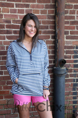 Chatham Anorak Half Zip Jacket (Navy Stripe)