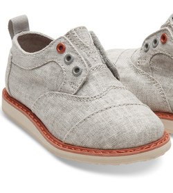 TOMS Drizzle Grey Coated Linen Tiny Brogues