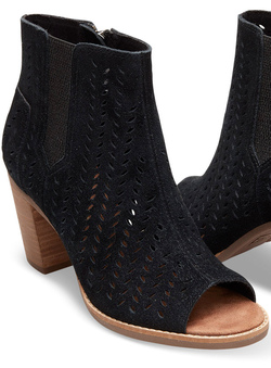 TOMS Black Suede Perforated Leaf Peep Toe Booties