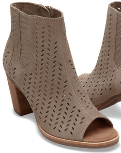 TOMS Taupe Suede Perforated Leaf Majorca Peep Toe Bootie
