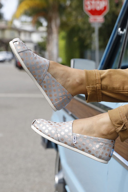 TOMS Classics Drizzle Grey with Rose Gold Foil Dots