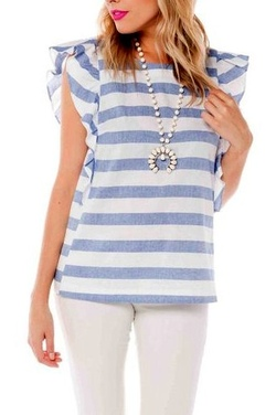 Buddy Love Basics ~ Auburn Nautical Ruffle Top