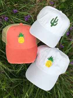 Pineapple Cactus Embroidered Hat