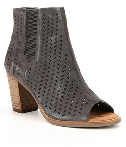 TOMS Majorica Iron Grey Suede Perforated Leaf Peep Toe Booties