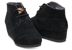 TOMS ~ Desert Wedge Youth (Black Suede)
