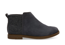 TOMS ~ Forged Iron Grey Suede Wool Youth Deia Booties