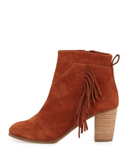 TOMS ~ Cognac Suede With Fringe