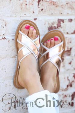 TOMS ~ Viv Rose Gold Specchio Sandal