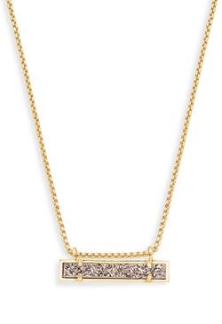 Kendra Scott ~ Leanor Gold Bar Pendant (Plantinum Drusy)