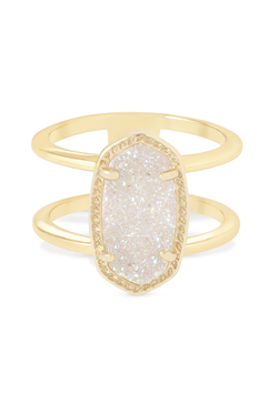 Kendra Scott ~ Elyse Double Band Ring (Gold/Iridescent Drusy)