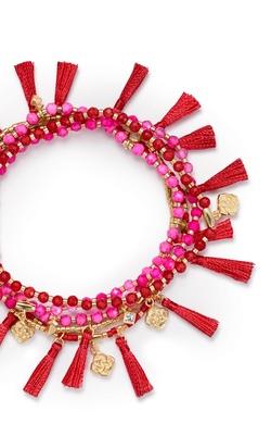 Kendra Scott ~ Julie Gold Stretch Bracelet (Pink Agate Mix)