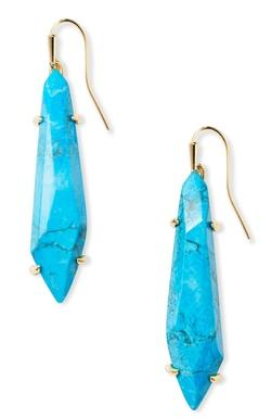 Kendra Scott ~ Grey Gold Drop Earrings (Aqua Howlite)