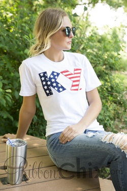 Chix Exclusive ~ State Pride Tee White (Stars and Stripes)