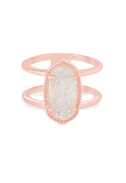 Kendra Scott ~ Elyse Ring Double Band Ring (Rose/Iridescent Drusy)