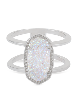 Kendra Scott ~ Elyse Double Band Ring (Silver/Iridescent Drusy)