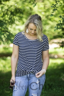 Get Twisted Top (navy & white)