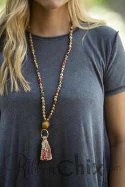 Kantha Tassel Necklace