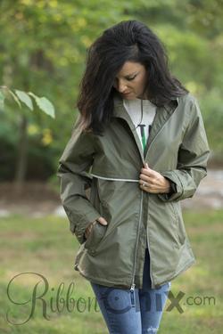 Charles River Monogrammable Rain Jacket (Olive)