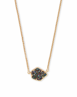 Kendra Scott ~ Tess Pendant Necklace (Gold/Multicolor Drusy)
