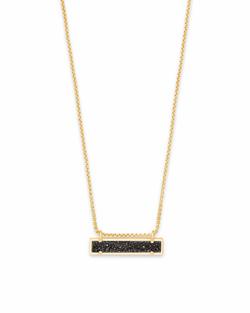 Kendra Scott ~ Leanor Pendant Necklace (Gold/Black Drusy)